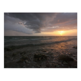 Honeymoon Island stormy sunset Postcard