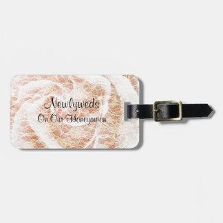 Honeymoon, Newlyweds, White Lace Pink Rose Luggage Tag