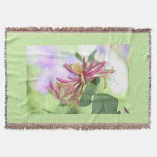 Honeysuckle flower photo throw blanket