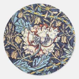 Honeysuckle Flower William Morris Round Sticker