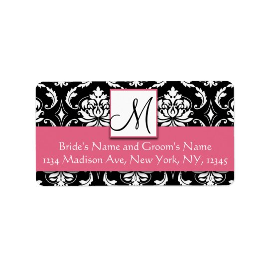 Honeysuckle Pink Damask Monogram Address Labels