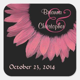 Honeysuckle Pink Sunflower Wedding Stickers