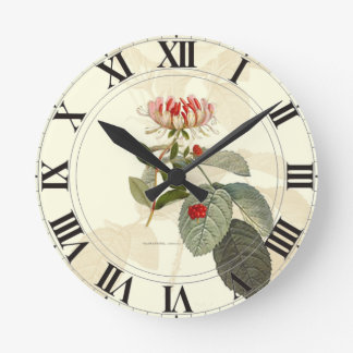 Honeysuckle Rose Botanical Clockface Wall Clocks