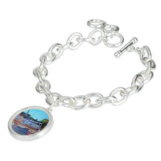 Honfleur Port - Round Charm Bracelet, Silver Plat