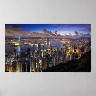 Hong Kong at Dusk Print