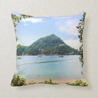Hong Kong Beach Throw Pillow