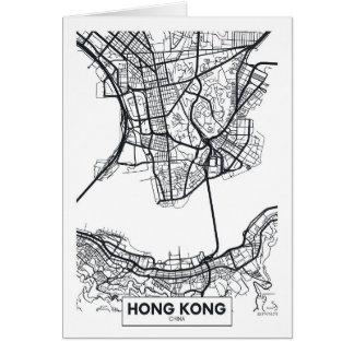 Hong Kong, China | Black and White City Map Card