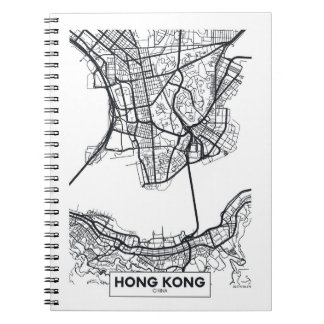 Hong Kong, China | Black and White City Map Notebooks