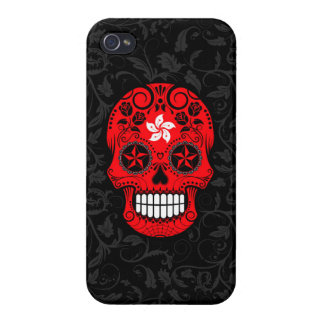 Hong Kong Flag Sugar Skull with Roses Cases For iPhone 4