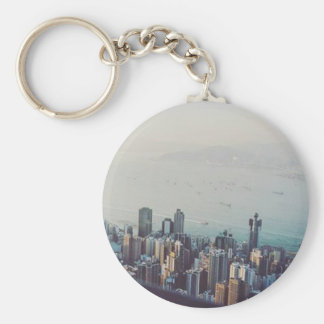 Hong Kong From Above Basic Round Button Keychain