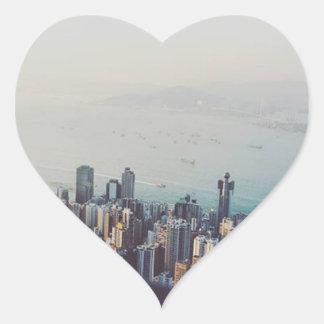 Hong Kong From Above Heart Sticker