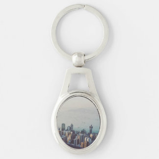 Hong Kong From Above Silver-Colored Oval Keychain
