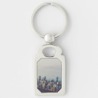 Hong Kong From Above Silver-Colored Rectangle Keychain