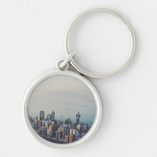 Hong Kong From Above Silver-Colored Round Keychain