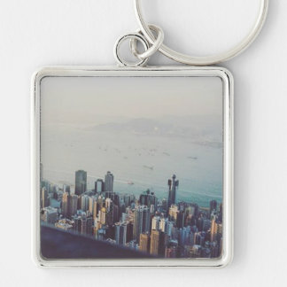 Hong Kong From Above Silver-Colored Square Keychain