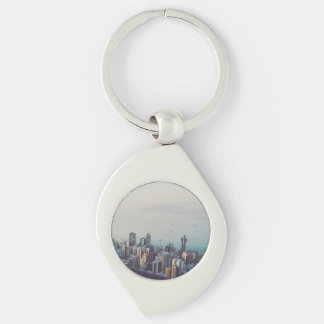 Hong Kong From Above Silver-Colored Swirl Keychain