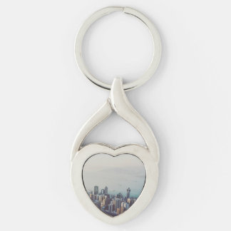 Hong Kong From Above Silver-Colored Twisted Heart Keychain