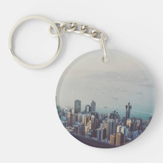 Hong Kong From Above Single-Sided Round Acrylic Keychain