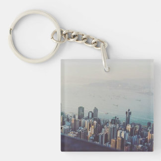 Hong Kong From Above Single-Sided Square Acrylic Keychain