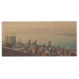 Hong Kong From Above Wood USB Flash Drive