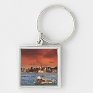 Hong Kong Harbor at Sunset Silver-Colored Square Keychain