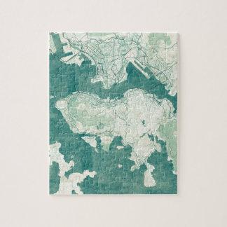 Hong Kong Map Blue Vintage Watercolor Jigsaw Puzzle