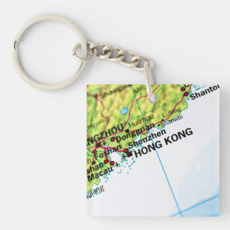 Hong Kong Map Double-Sided Square Acrylic Keychain
