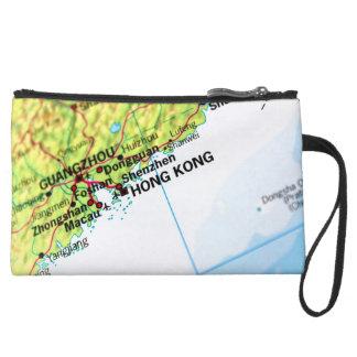Hong Kong Map Wristlet Purses