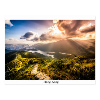 Hong Kong Mountainscape at sunset Postcard