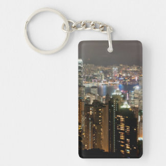 Hong Kong Night Skyline from Victoria Peak Double-Sided Rectangular Acrylic Keychain