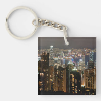 Hong Kong Night Skyline from Victoria Peak Double-Sided Square Acrylic Keychain