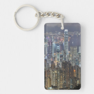 Hong Kong Night Skyline from Victoria Peak Single-Sided Rectangular Acrylic Keychain