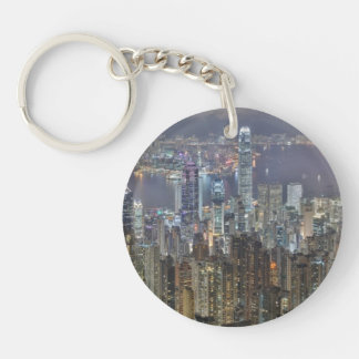 Hong Kong Night Skyline from Victoria Peak Single-Sided Round Acrylic Keychain