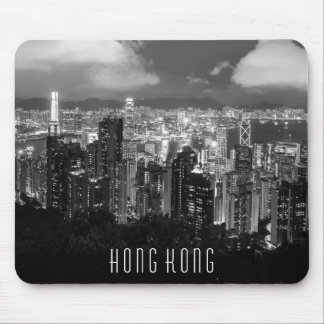 Hong Kong Night View Black & White Mouse Pad