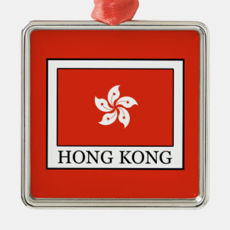 Hong Kong Silver-Colored Square Ornament