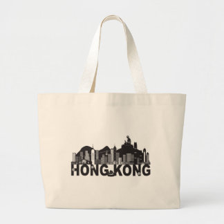 Hong Kong Skyline Buddha Statue Text Large Tote Bag