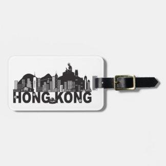 Hong Kong Skyline Buddha Statue Text Luggage Tag