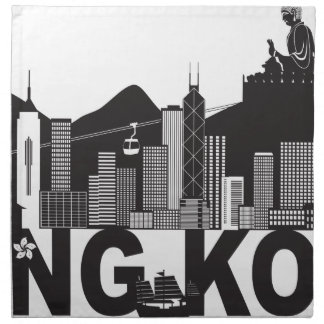 Hong Kong Skyline Buddha Statue Text Napkin