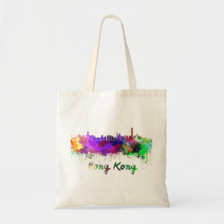 Hong Kong skyline in watercolor Tote Bag