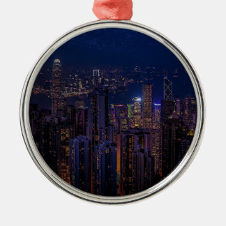 Hong Kong Skyline Metal Ornament