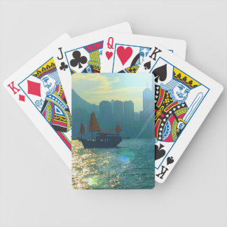 "Hong Kong Victoria Harbor Aqua tones ""junk"" Bicycle Playing Cards"