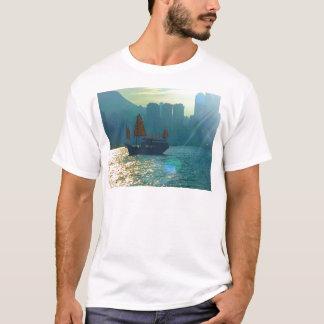 """Hong Kong Victoria Harbor Aqua tones """"junk"""" T-Shirt"""