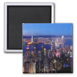Hong Kong Victoria Harbour at Night Square Magnet