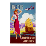 Hong Kong Vintage Travel Poster Restored