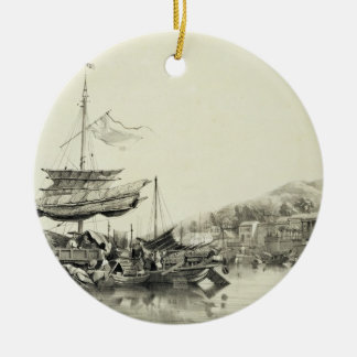 Hong Shang, plate 17 from 'Sketches of China', eng Round Ceramic Ornament