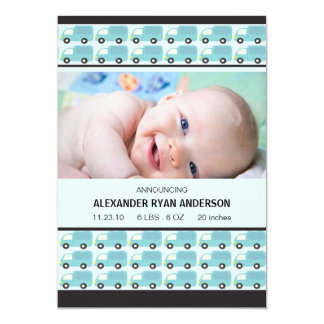Honk! Blue Trucks Baby Boy Birth Annoucement Card