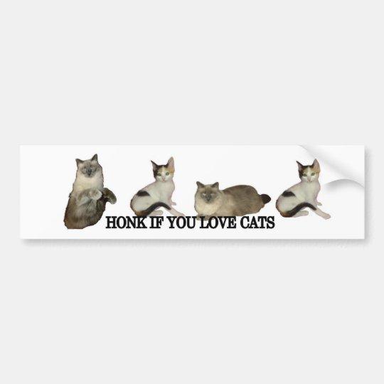 Honk If You Love Cats Bumper Sticker