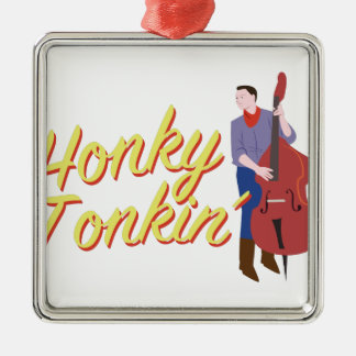 Honky Tonkin Silver-Colored Square Ornament