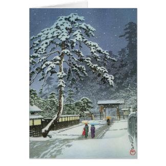 Honmonji Temple in Snow - Kawase Hasui 川瀬 巴水 Card
