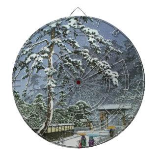 Honmonji Temple in Snow - Kawase Hasui 川瀬 巴水 Dartboard